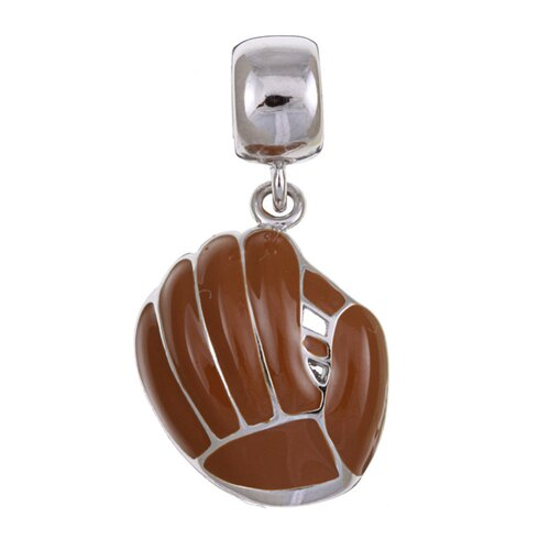 Signature Moments Silver Enamel Baseball Mitt Charm Bead in Brown