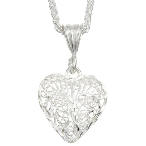 Sterling Silver 20 inches Filigree Heart Necklace