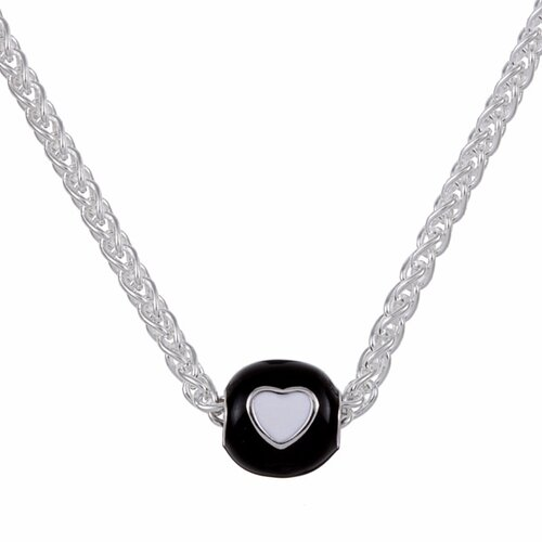 Sterling Essentials Sterling Silver Black and White Heart Bead Necklace