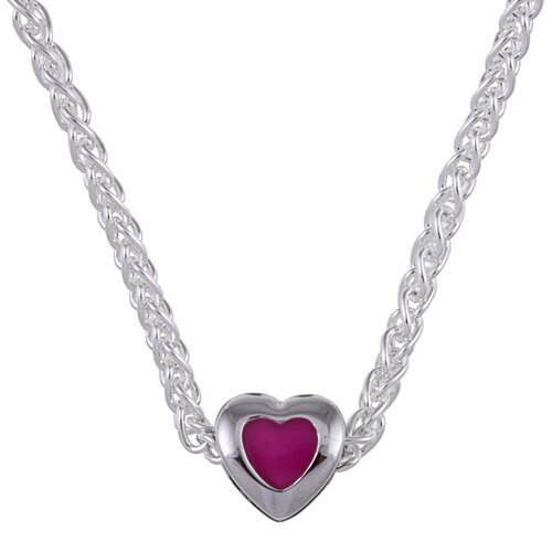Sterling Essentials Sterling Silver Pink Enamel Heart Bead Necklace