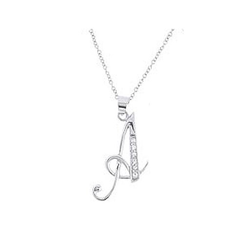 Sterling Essentials Sterling Silver Cubic Zirconia Script Initial Necklace