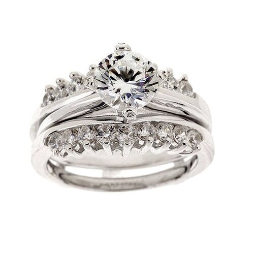 Sterling Silver Cubic Zirconia Two-piece Engagement Ring