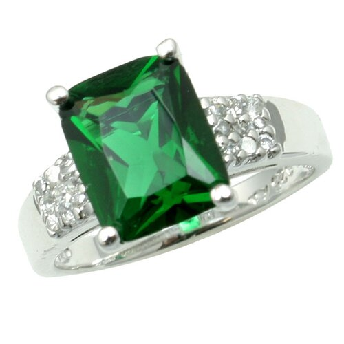 Sterling Essentials Sterling Silver Green Cubic Zirconia Ring