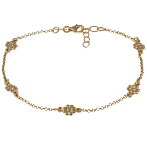 Sterling Essentials 14k Gold over Silver Flower Anklet