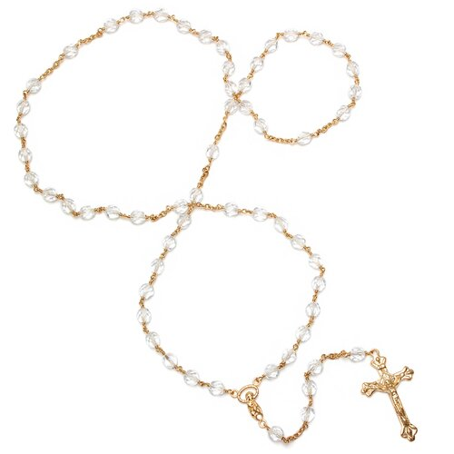Sterling Essentials Gold Plated Bronze Beaded Rosary Necklace
