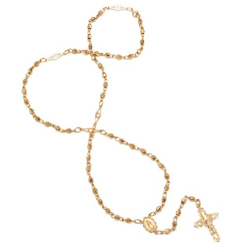 Gold Plated Bronze Diamond-Cut Beaded Rosary Necklace