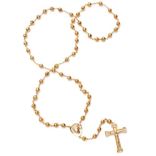 Gold Plated Bronze Jesus Rosary Necklace