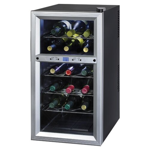 Contemporary 18 Bottle Dual Zone Thermoelectric Wine Refrigerator