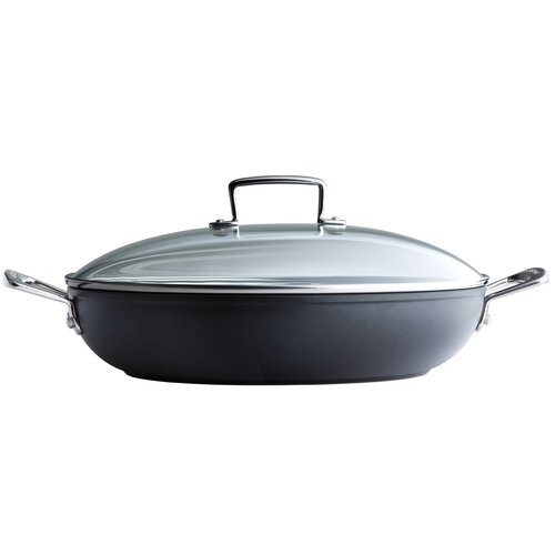 Forged Hard-Anodized Nonstick Stainless Steel Shallow Braiser with Glass Lid