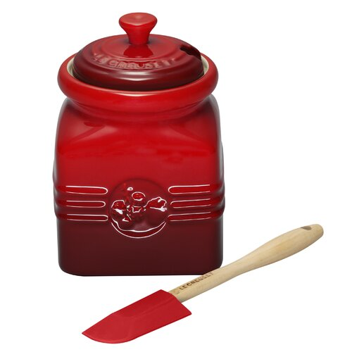 Le Creuset Stoneware 16 Oz Berry Jam Jar with Silicone Spreader