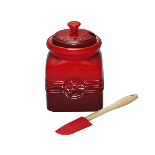 Le Creuset Stoneware 16 oz. Berry Jam Jar with Silicone Spreader