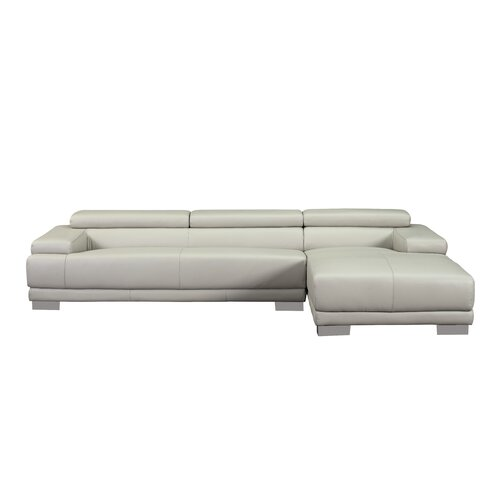 Melody Right Leather Chaise Sectional