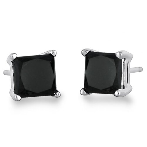 Szul Jewelry Genuine Princess Cut Solitaire Diamond Stud Earrings