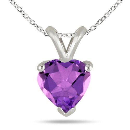 Sterling Silver Heart Cut Gemstone Heart Pendant