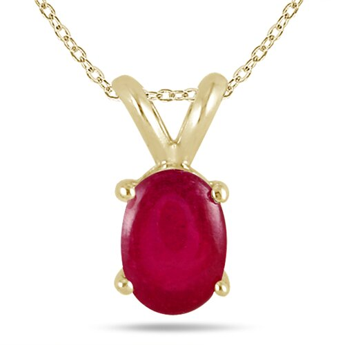 Szul Jewelry All Natural Genuine 14K Yellow Gold Oval Cut Gemstone Pendant Set