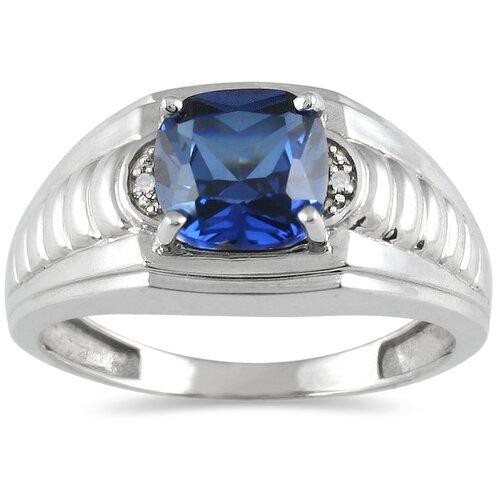 Szul Jewelry Men's 10K White Gold Cushion Cut Sapphire Ring