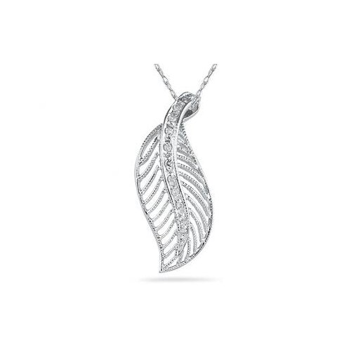 14K White Gold Round Cut Diamond Leaf Pendant