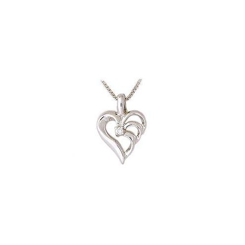 14K White Gold Round Cut Triarch Diamond Heart Pendant