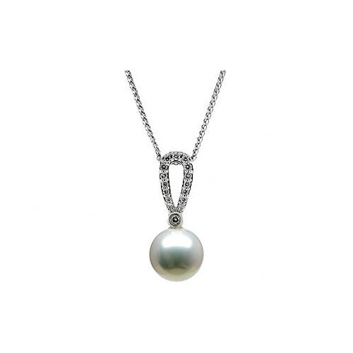 14K White Gold Round Cultured Pearl Pendant