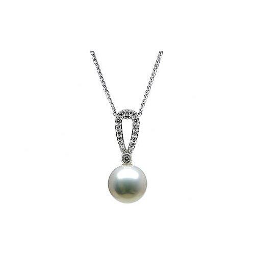 14K White Gold Round Cultured Pearl Pendant