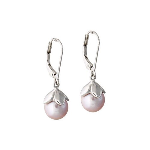 Natural Round Cut Freshwater Cultured Pearl Drop Earrings