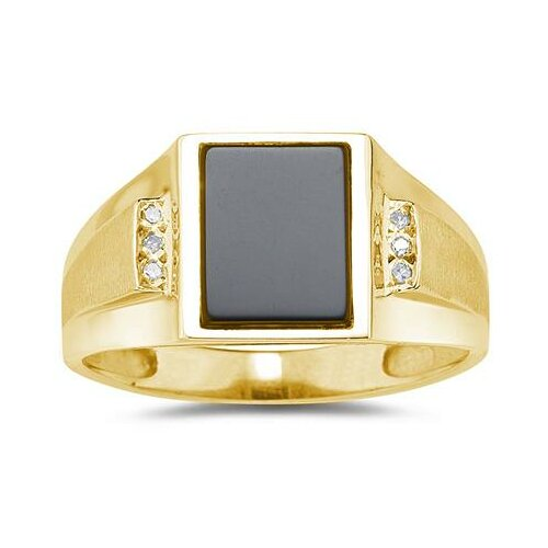 Szul Jewelry Men's 10K White Gold Radiant Cut Onyx Ring