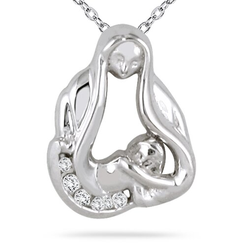Round Cut Diamond Baby with Mom Pendant