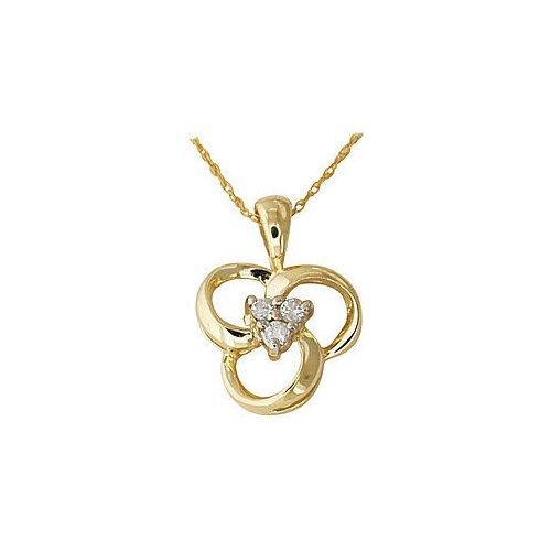 10K Yellow Gold Round Cut Diamond Swirl Pendant