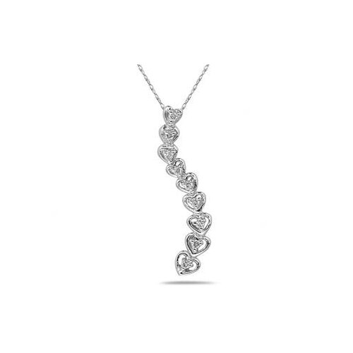 10k White Gold Round Cut Diamond Heart Journey Pendant
