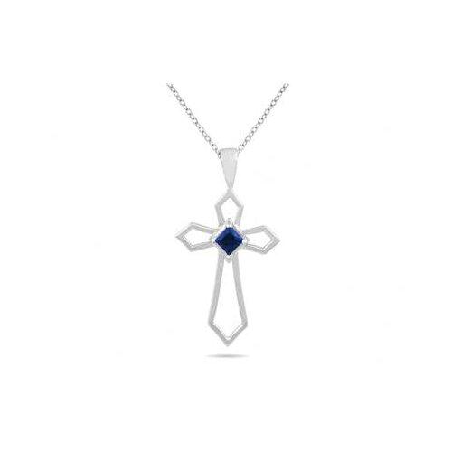 10K White Gold Princess Cut Sapphire Cross Pendant