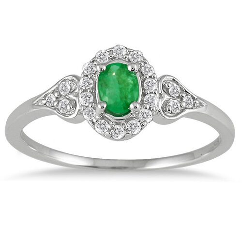 10K White Gold Vintage Style Oval Cut Gemstone Ring