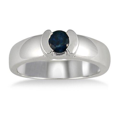 14k White Gold Half-Bezel Sapphire Ring