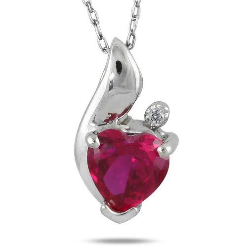 Sterling Silver Heart Cut Ruby Heart Pendant