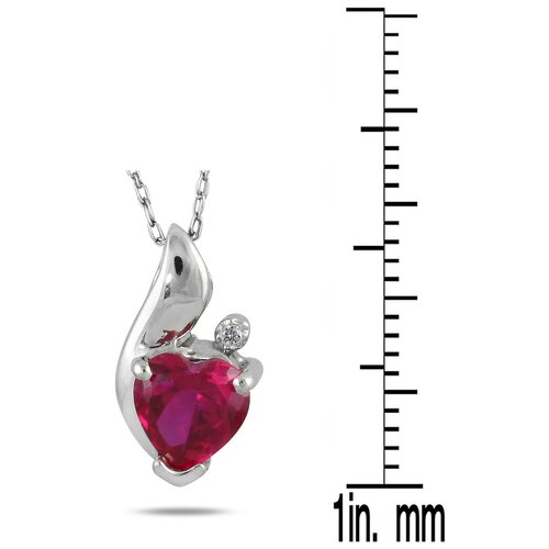 Szul Jewelry Sterling Silver Heart Cut Ruby Heart Pendant