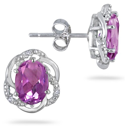 Oval Cut Amethyst Stud Earrings