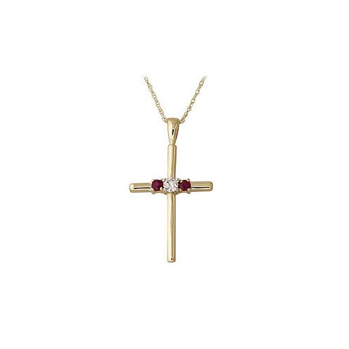 14K Gold Round Cut Gemstone Roma Cross Pendant