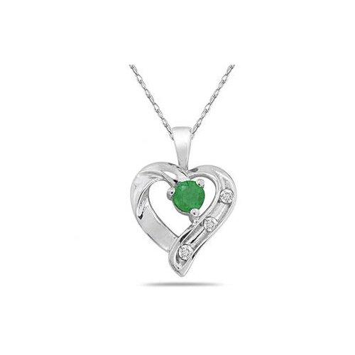 Szul Jewelry 14K White Gold Round Cut Gemstone Heart Pendant