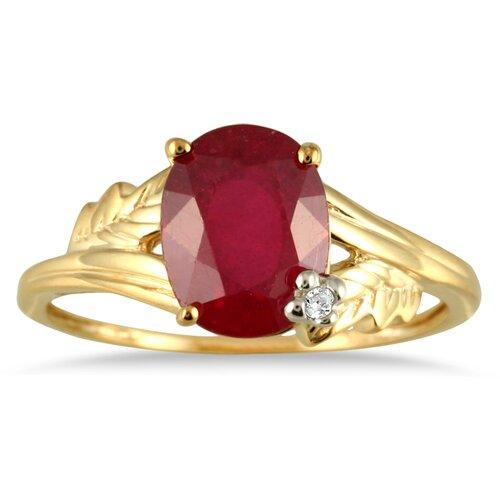 10K Gold Oval Cut Gemstone Leaf Ring