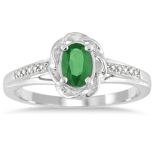 10K White Gold Oval Cut Emerald Ring