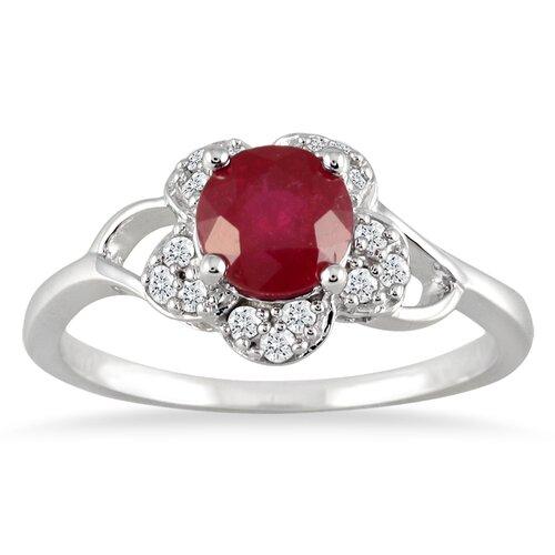10K White Gold Round Cut Rubye Ring