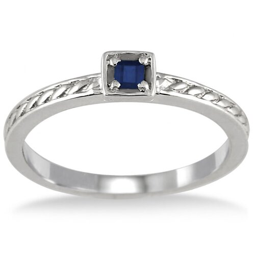 Sterling Silver Princess Cut Sapphire Antique Engraved Ring