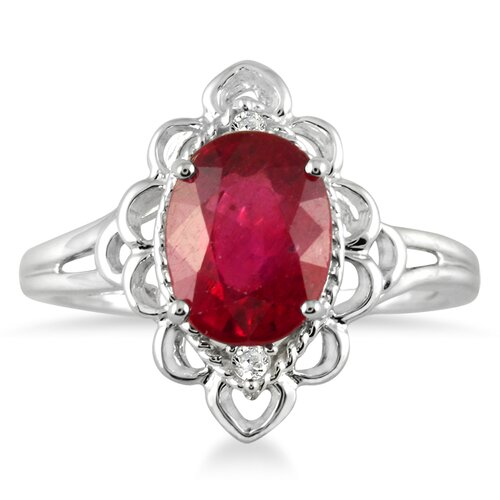 10K White Gold Oval Cut Ruby Engraved Ring