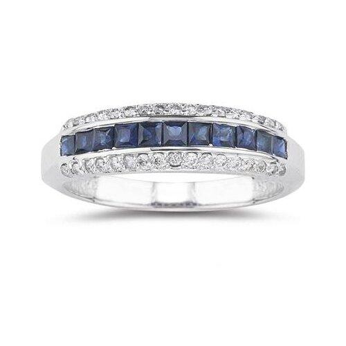 14K White Gold Princess Cut Sapphire Ring