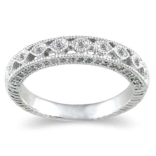 14K White Gold Round Cut Diamond Wedding Ring