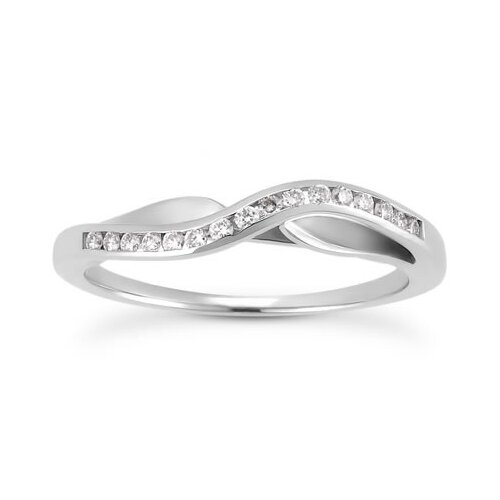 10K White Gold Round Cut Diamond Band