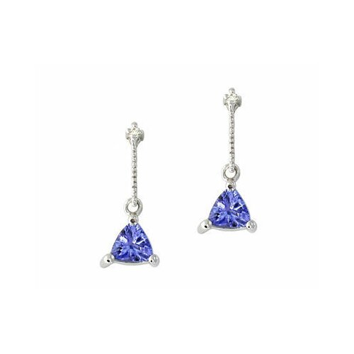 Trillion Cut Tanzanite Drop Earrings