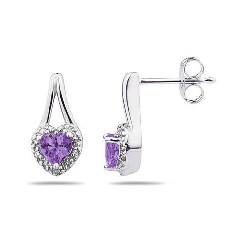 10K White Gold Heart Cut Gemstone Heart Stud Earrings
