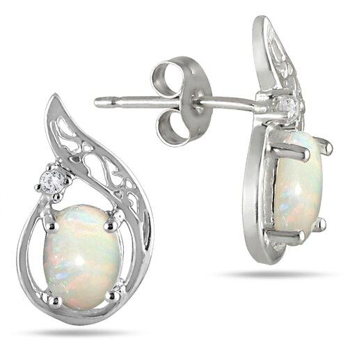 Oval Cut Opal Stud Earrings