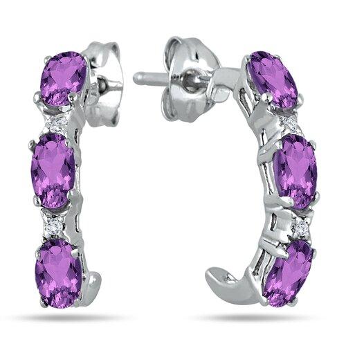 Szul Jewelry Round Cut Topaz Hoop Earrings