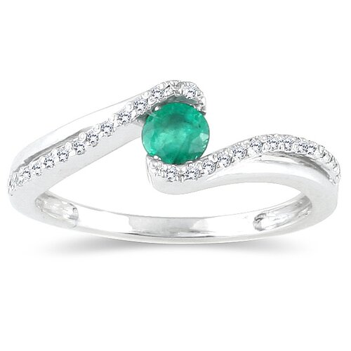 10K White Gold Round Cut Emerald Ring